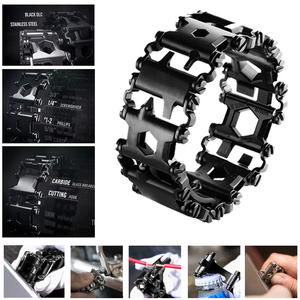 Image 1 - 29 in 1 Tread Multifunctional Bracelets 304 Stainless Steel Walker Wearable Tools Punk Outdoor Screwdriver Bracelets Opener Kits