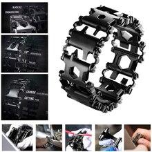Bracelets multifonctions de bande de roulement 29 en 1 304 outils portables de marcheur en acier inoxydable Kits douvreur de Bracelets de tournevis en plein air Punk