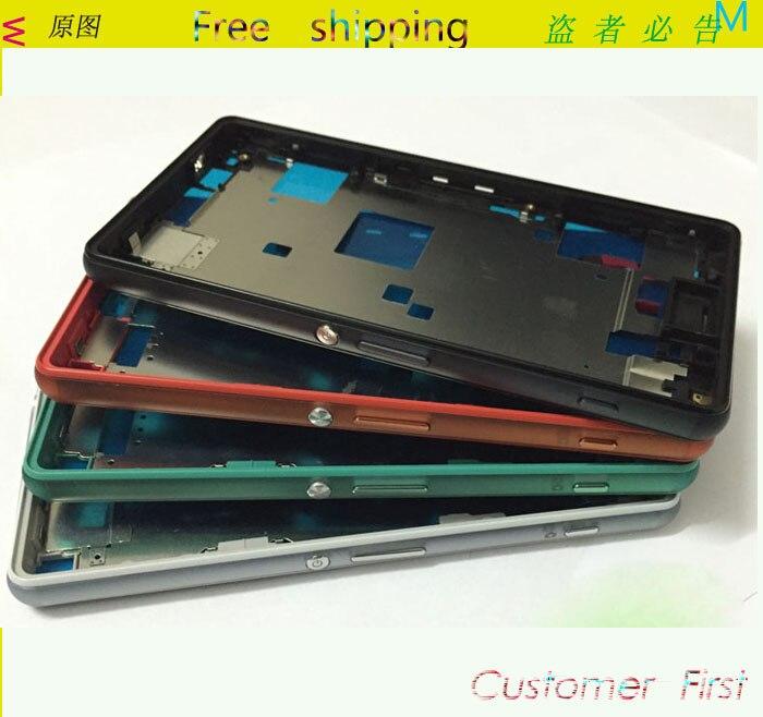 imágenes para Original Nuevo Caso Para Sony Xperia Z3 Compacto Mini M55W caja LCD Junta Medio Plate Frame Medio Vivienda Con Cubierta del Enchufe + botones