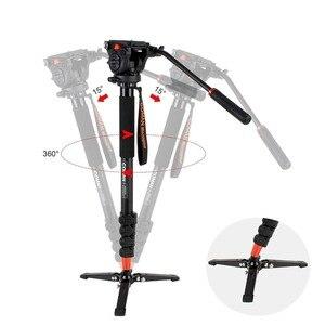 Image 3 - Profesyonel Coman alüminyum alaşımlı Video Tripod Monopod sıvı Pan kafa Unipod tutucu Canon Sony Nikon Panasonic GH5 DSLR