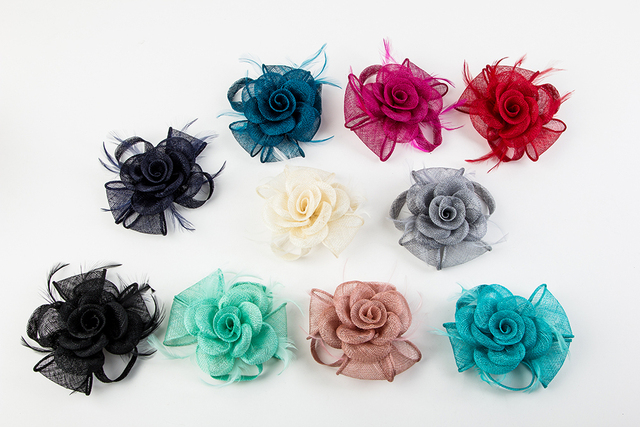 090bd4d85 Solid MIni Sinamay Fascinator Top Headwear Hair Clip For Women Party  Cocktail Fascinator Hat Feathers Hair
