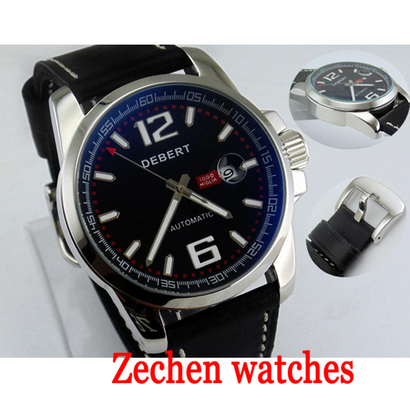 Debert 44MM mechanical watch men's fashion calendar watch men's waterproof automatic mechanical watch men цена и фото