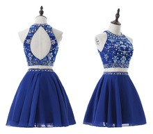 robe de soriee New Royal Blue Short Mini Two Pieces Prom Dress Plus Size 2019 O-neck Cocktail Party Dress vestidos de noiva
