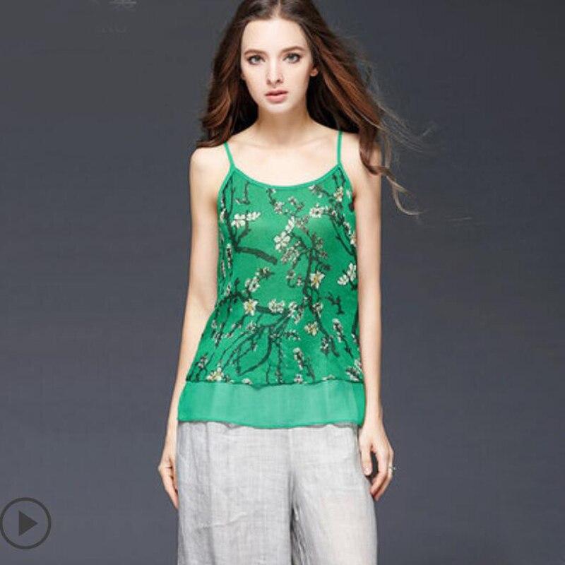 Robe de grande taille D'été En Soie Véritable débardeur Femmes Grande Taille Vêtements Impression O-cou Débardeurs Sans Manches Vert décontracté Dames Vêtements