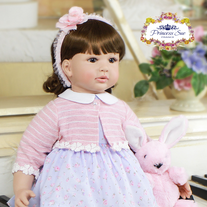 Pursue 24/60cm Silicone Reborn Babies Toddler Girl Like Life Real Soft Body Weighted for Cuddle Brown Eyes With Flower Hairpin цена