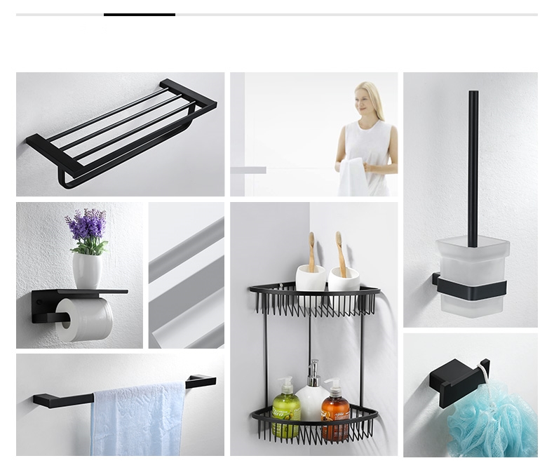 Black High quality Stainless steel  6PCS/Set Towel rack Shelf Basket hook bathroom ware Bathroom hardware accessories SetBlack High quality Stainless steel  6PCS/Set Towel rack Shelf Basket hook bathroom ware Bathroom hardware accessories Set