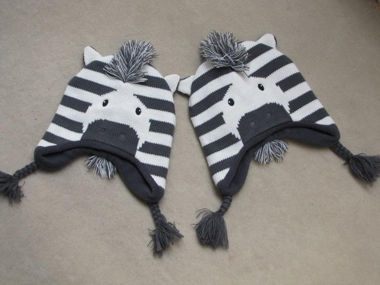 Baby Boys Winter Warm Hats Cartoon Zebra Pattern Caps Kids Knitted Caps Ear Flaps Beanies Children's Girls Cute Animal Sckullies 20