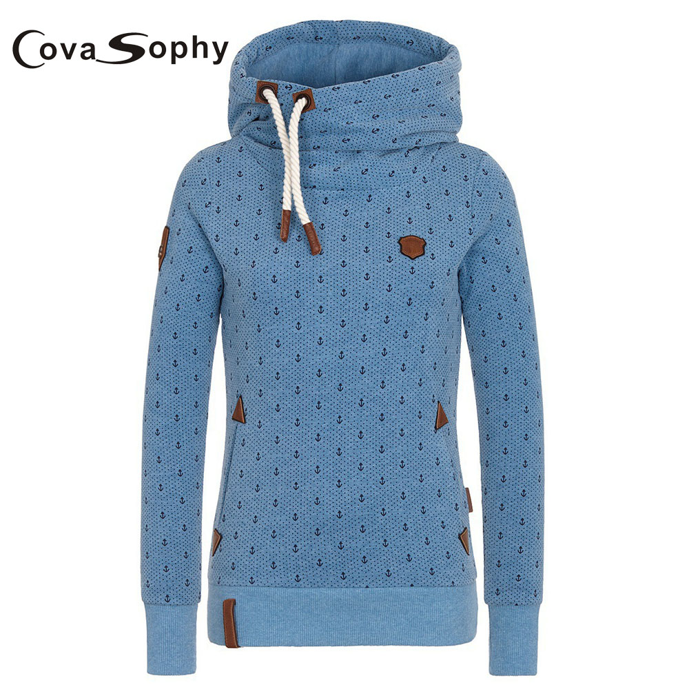 Cova Sophy Women Hooded Long Sleeve Casual Hoodies Casual Tops Plus Size S-5XL