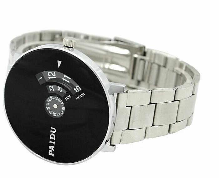 Roestvrij Zilveren Band PAIDU Quartz Horloge Black Turntable Dial Mens Gift Elektronische Horloge digitale Horloge mode gif mannen w