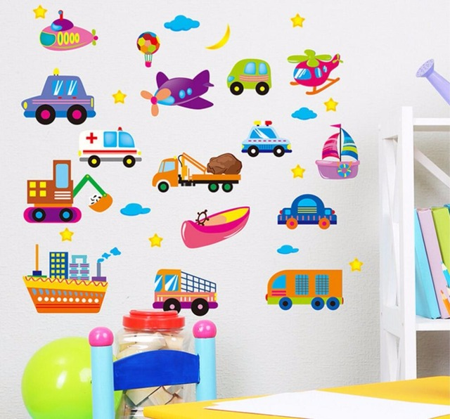 Cartoon Cars Child Room Wall Stickers For Kids Room Boy Bedroom Wall Decals  Window Poster 3D Car Wall Sticker Wallpaper Part 69