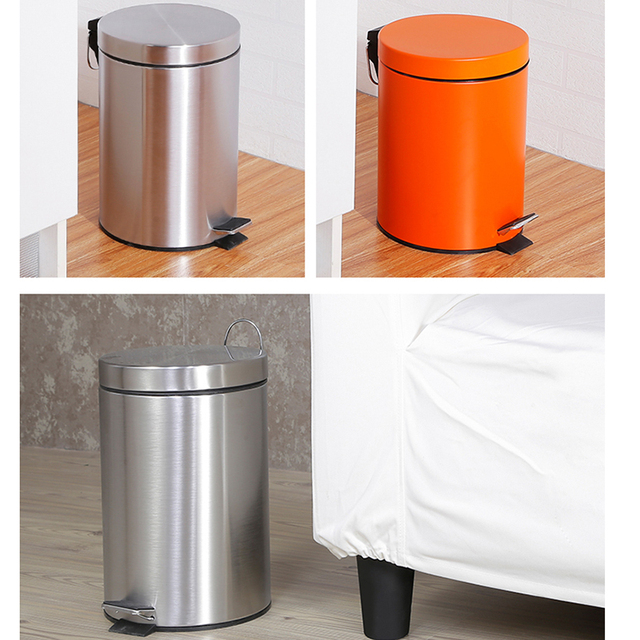 5L Trash Can Kitchen Living Room Office Garbage Dust Bin Bathroom Storage Rubbish Bucket Storage Box Pedal Waste Can Purple