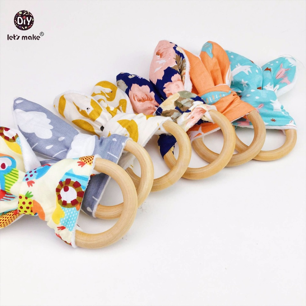 Lets Make Baby Teether Bunny Ear Food Grade Materials 6pcs Teething Accessories Baby Play Gym Pram Toy Nursing Wooden Teether