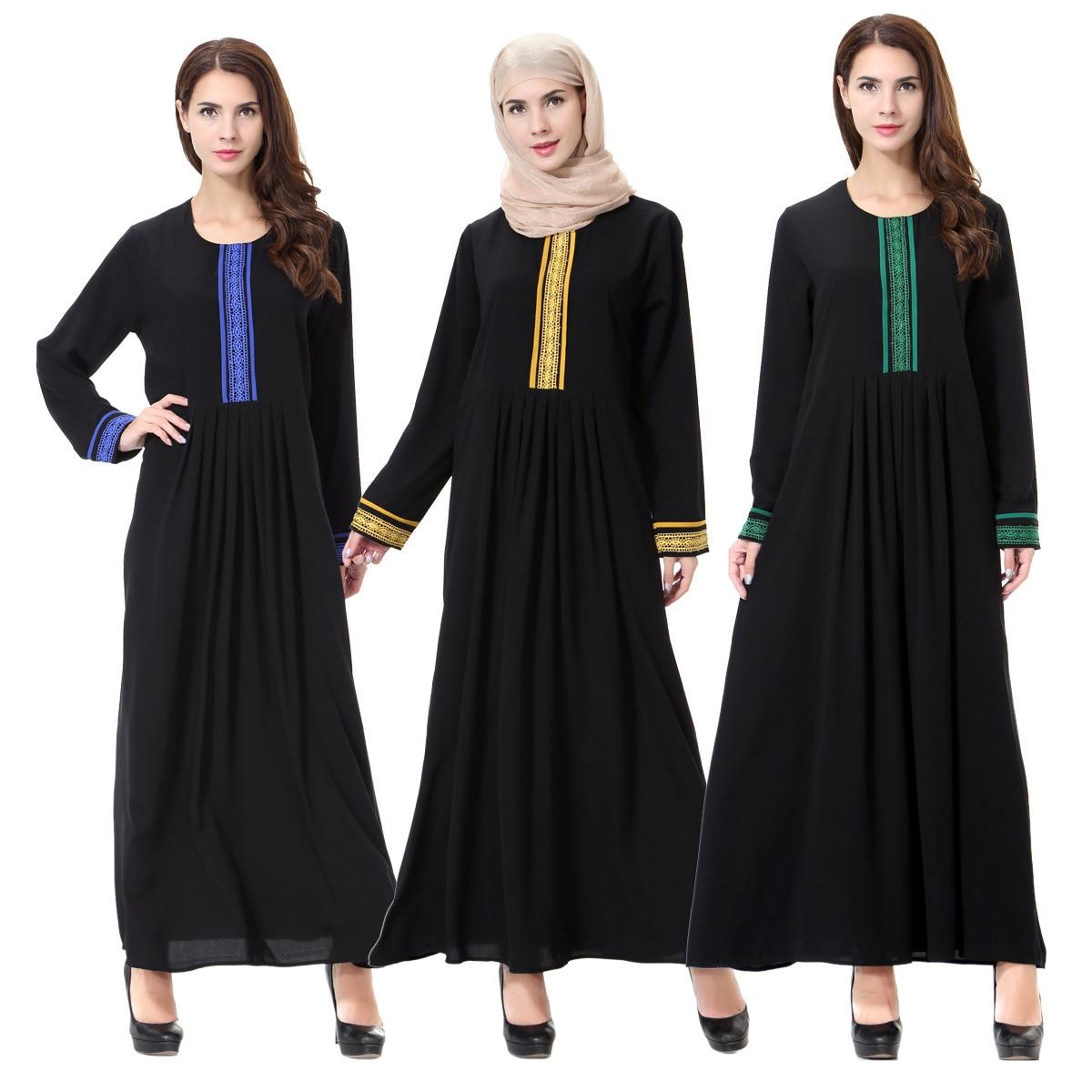 Abaya Dress Muslim Women Long Sleeve Arab Abaya Jalabiya Islamic Women Dress Clothing Robe Kaftan Mother & Kids Strollers Accessories