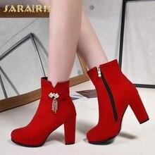 8b48dac28 Nova Marca plus size 31 SARAIRIS-43 Metale Decoração Preto Vermelho Botas  Sapatos Zíper de Salto Alto Sapatos de Mulher botas mu.