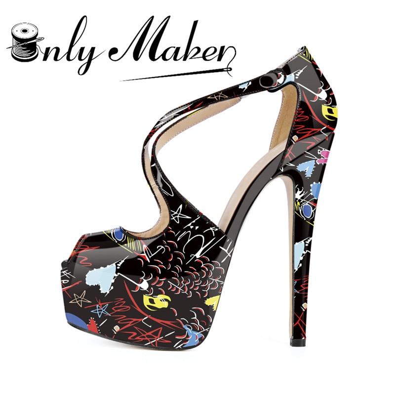 Onlymaker 2018 Spring 16cm Peep Toe Women Pumps White and black Graffiti ColorfuNEW Fashion Women Shoes High Heels Sexy platf