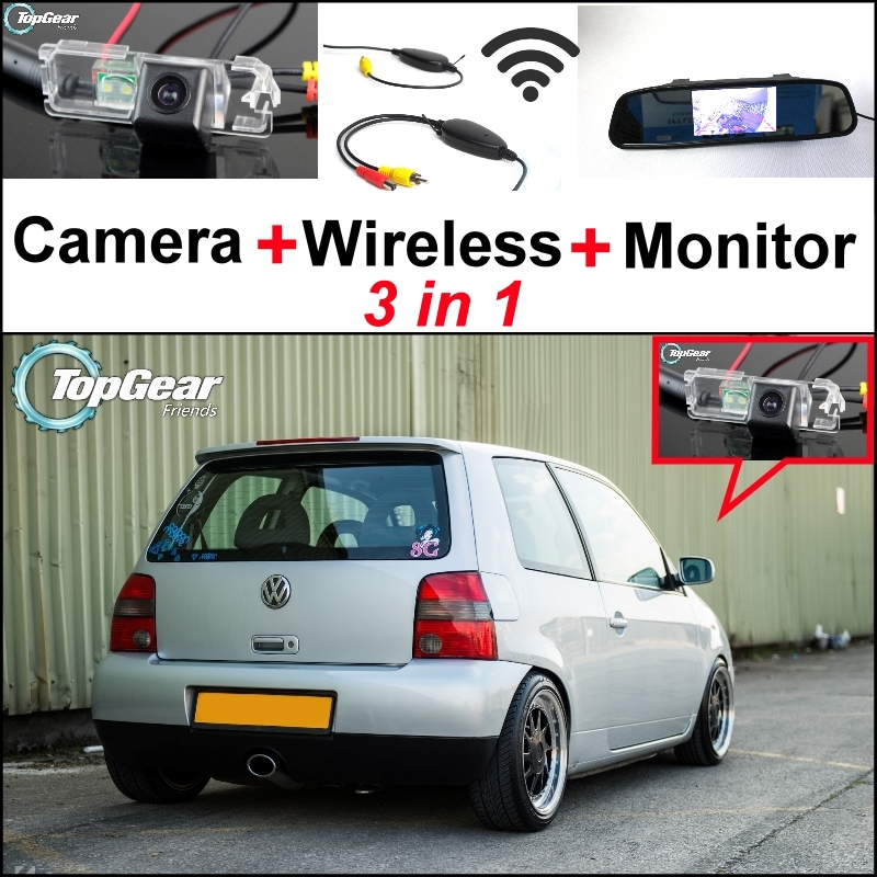 3 in1 Special Rear View Camera + Wireless Receiver + Mirror Monitor Easy DIY Parking System For Volkswagen VW Lupo 3 in1 special rear view camera wireless receiver mirror monitor easy diy backup parking system for jeep liberty 2002 2007