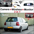 3 in1 Special Rear View Camera + Wireless Receiver + Mirror Monitor Easy DIY Parking System For Volkswagen VW Lupo