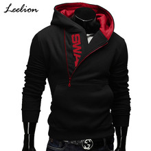 IceLion 2019 Side Rits Hoodies Mannen Katoen Sweatshirt Lente Brief Afdrukken Sportkleding Slim Trui Trainingspak Hip Hop Streetwear(China)