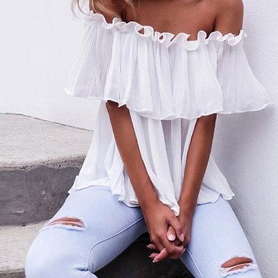 Itfabs Для женщин шифон с открытыми плечами топы, футболки с коротким рукавом Повседневная блузка свободные футболки ...