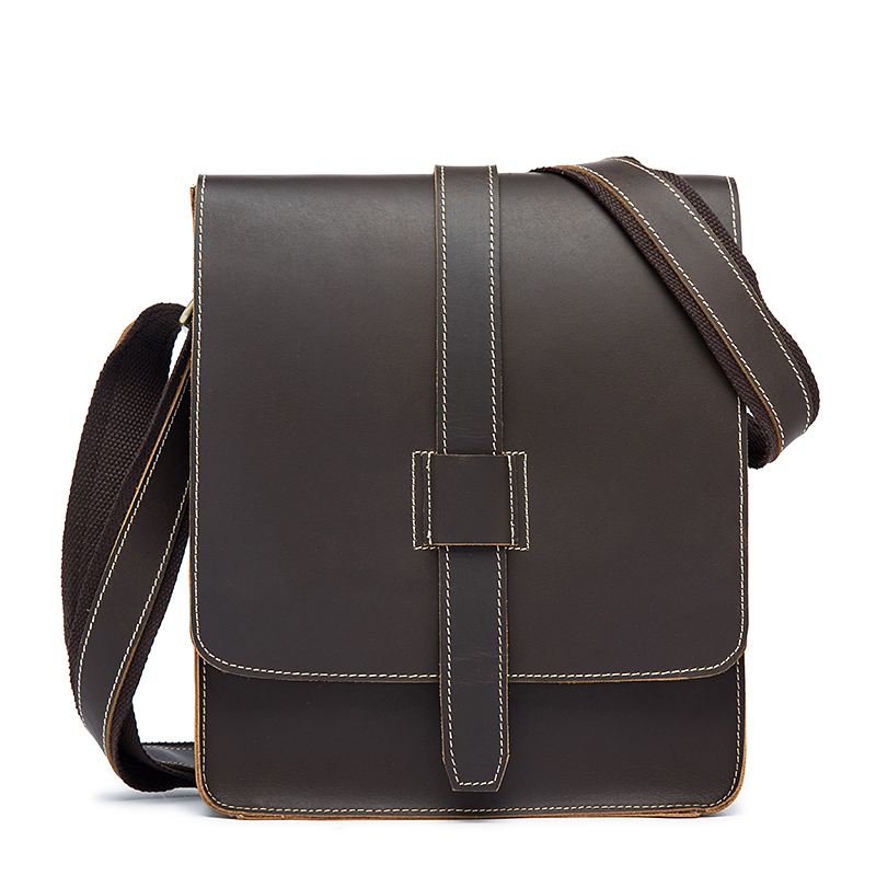 High Quality Messenger Bag Men's Genuine Leather Fashion Crazy Horse Casual Tote Shoulder Small Flap Male Handbag Crossbody Bags women bags handbag female tote crossbody over shoulder sling leather messenger small flap patent high quality fashion ladies bag
