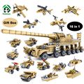 New Military 16 in1 Set  545pcs Building Block Tank Fighter Warship Dora Cannon Army Toy Kazi Blocks Compatible with lego Bricks