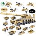 Nueva Militar 16 in1 Set 545 unids Bloque de Construcción Del Tanque de Combate dora cañón del buque de guerra del ejército de juguete kazi bloques compatibles con lego ladrillos