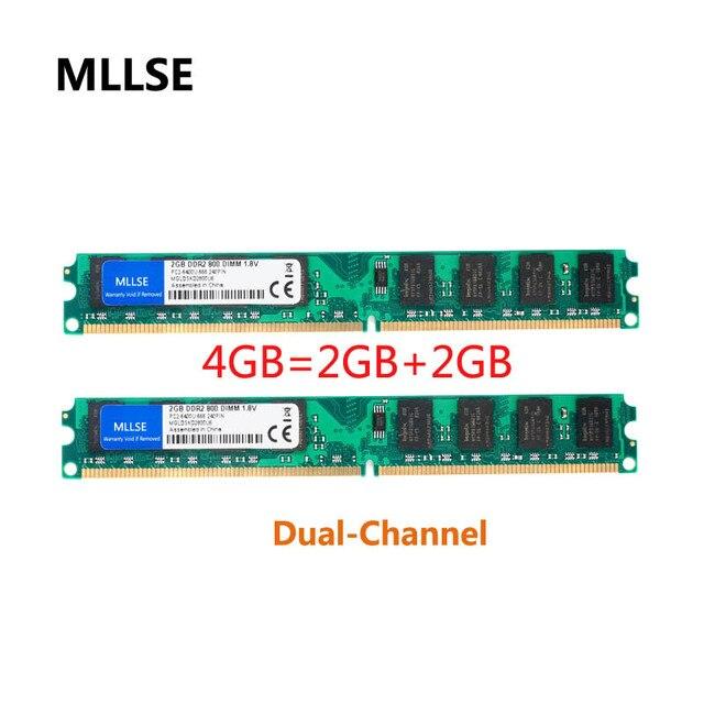 MLLSE Novo Selado DIMM DDR2 800 Mhz 4 GB (2 GB X 2 Peças) PC2-6400 memória para Desktop RAM, de boa qualidade!