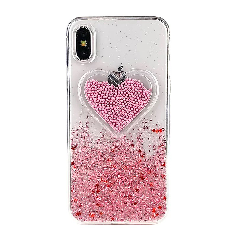 Liquid Heart Glitter Powder Smile Face Clouds Case For iPhone 6 S 6s 7 8 Plus X XR XS Max Ice Cream TPU Dynamic Beads Back Cover (4)