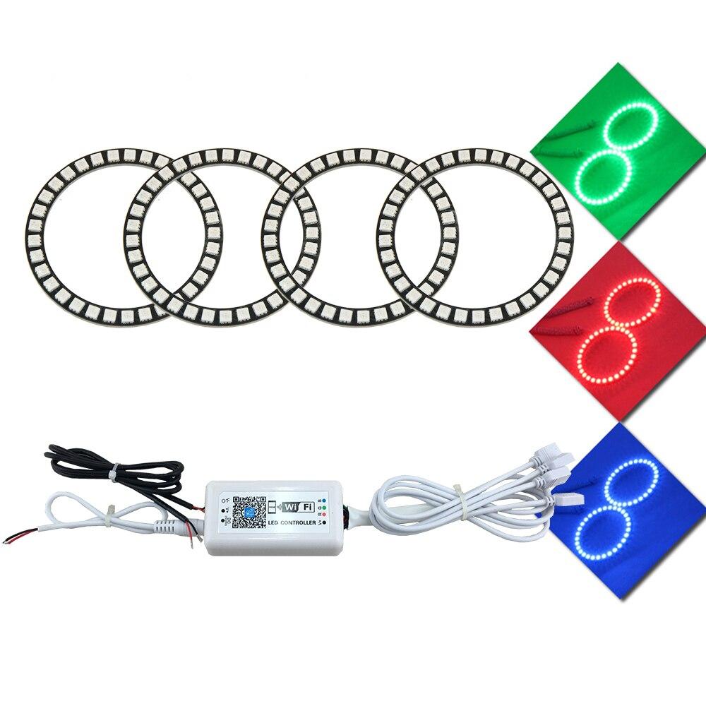 4 Pcs 90mm Wifi Control RGB Angel Eyes Halo Car LED Light Ring DC 12V 5050 33SMD chips Led Headlight Conversion Kit DRL