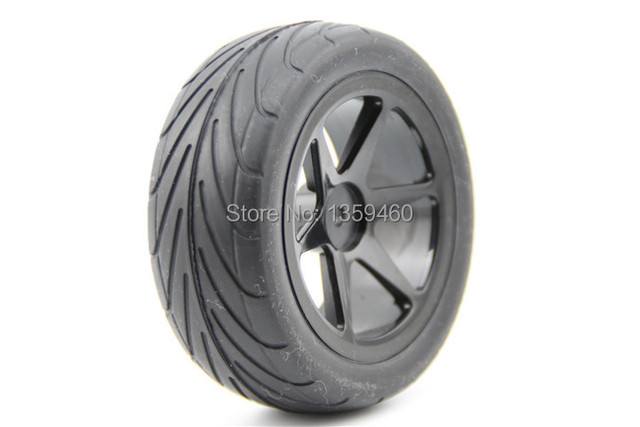 Pre-Glued 4pcs 1/10 Buggy Tires Tyre(On-Road) 6 Spoke Black Wheel Rim fits for 1:10 4WD Buggy Car 1/10 Tire
