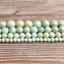 LanLi fashion natural Jewelry Green gold colored jades Loose beads 6/8/10/12mm DIY woman bracelet necklace ear stud accessories