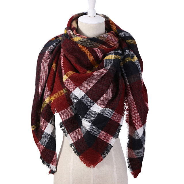 Triangle Scarf For Women Shawl Cashmere Plaid Scarves 1
