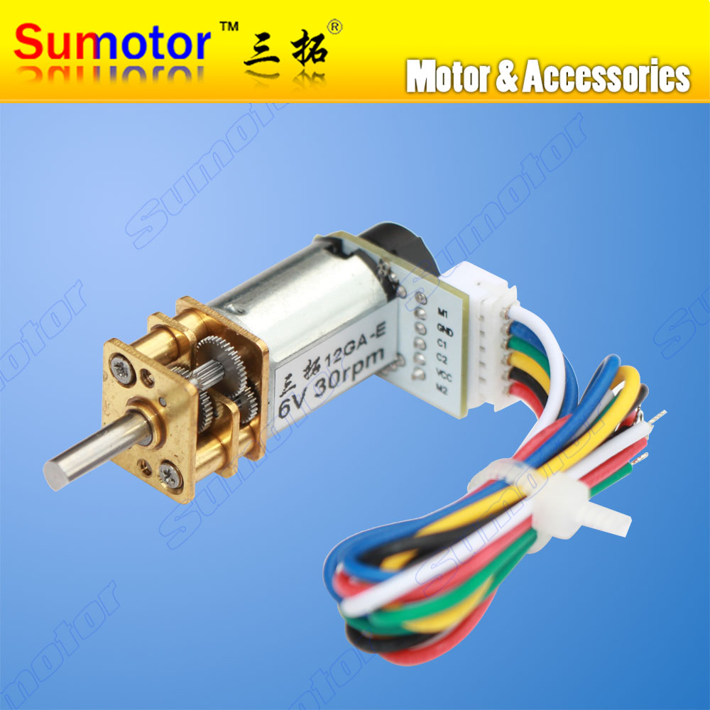 12GA DC 3V 6V 12V Small Electric Metal Gear Motor Hall <font><b>Encoder</b></font> A B phase <font><b>N20</b></font> RC smart car Robot model DIY engine Toys Door lock image