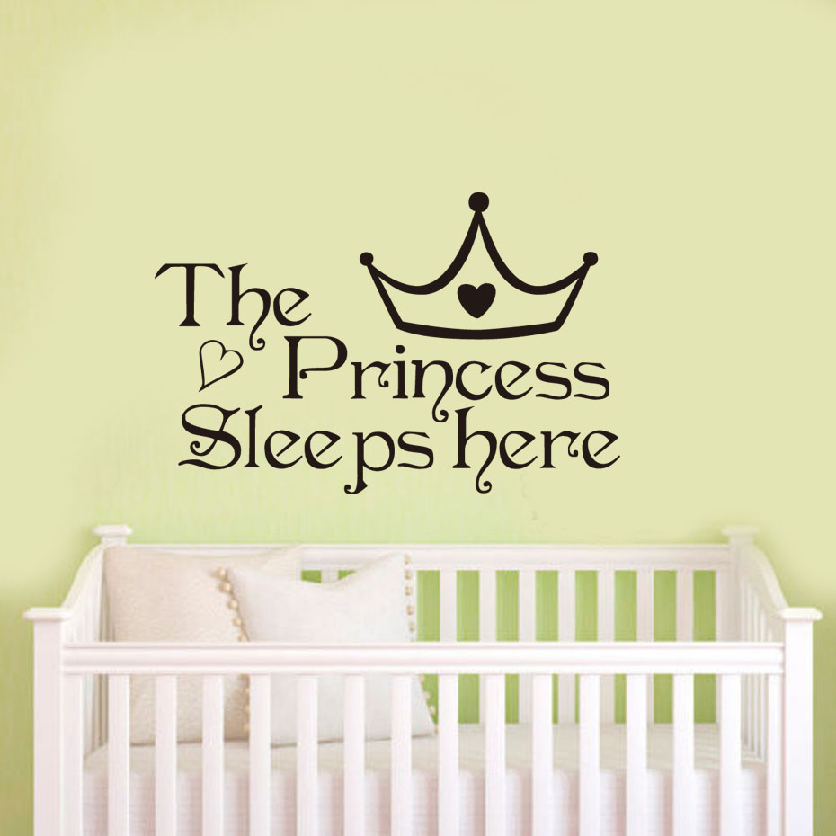 DCTOP The Princess Sleeps Here Black Vinyl Wall Sticker Home Decoration Bedroom Wallpaper Wall Art Decor Living Room Girl Murals-in Wall Stickers from ...