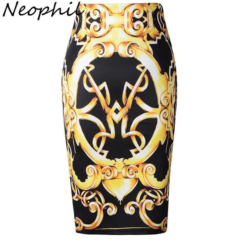 Neophil 2019 Retro etnické zlato Totem tisk Vysoká pas Sexy Midi tužka sukně dámské Plus velikost černá Slim Tutu Jupe Femme S1003