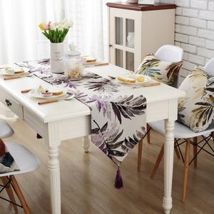 Image 4 - Junwell ファッション現代のテーブルランナーカラフルなナイロンジャカードテーブルランナーテーブルクロスタッセルとカットワーク刺繍テーブルランナー
