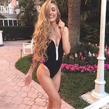 New Sexy Women Bathing Suit Zipper One Piece Black