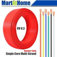 1 метр RV 0,3 одножильный многожильный провод 99.9% бескислородной меди ПВХ для DIY электронного оборудования, моторов, светильник