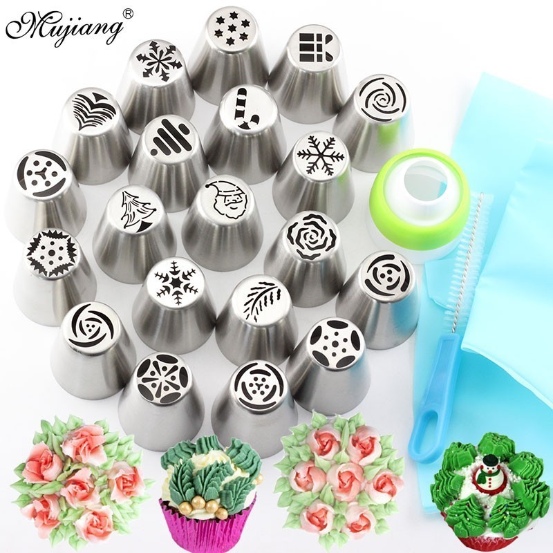 23Pcs Russian Tulip Icing Piping Tips Christmas Design Pastry Nozzles Cupcake Cookie Decoration Pastry Baking Confectionery Tool
