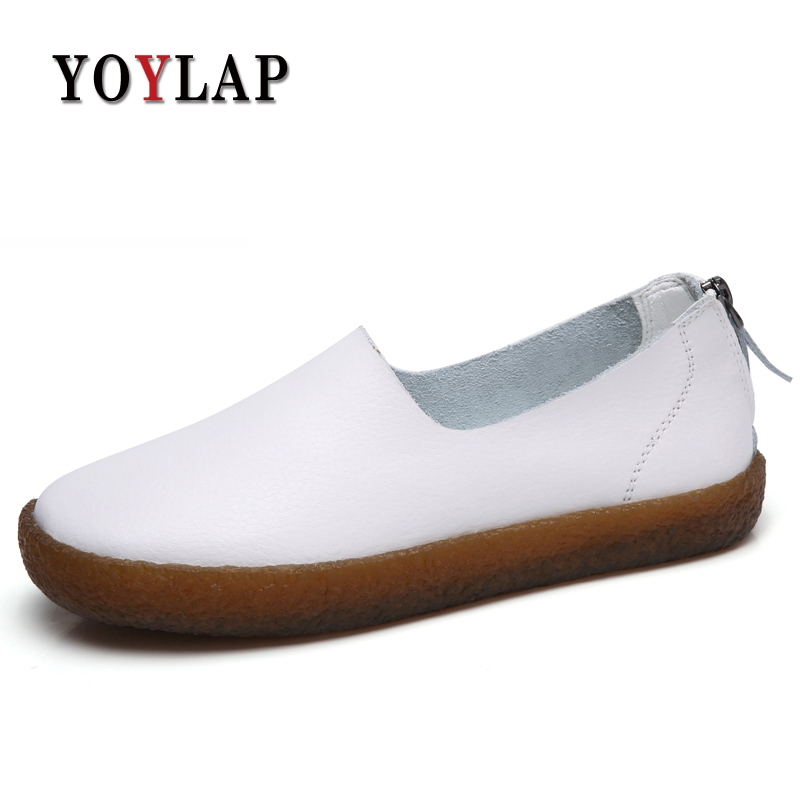 Brand Soft Women Shoes Flats Moccasins Slip on Loafers Genuine Leather Shoes Fashion Casual Ladies Shoes Footwear women shoes 2018 new footwear slip on ballet hollow genuine breathable soft flat shoes women comfortable loafers shoes ladies
