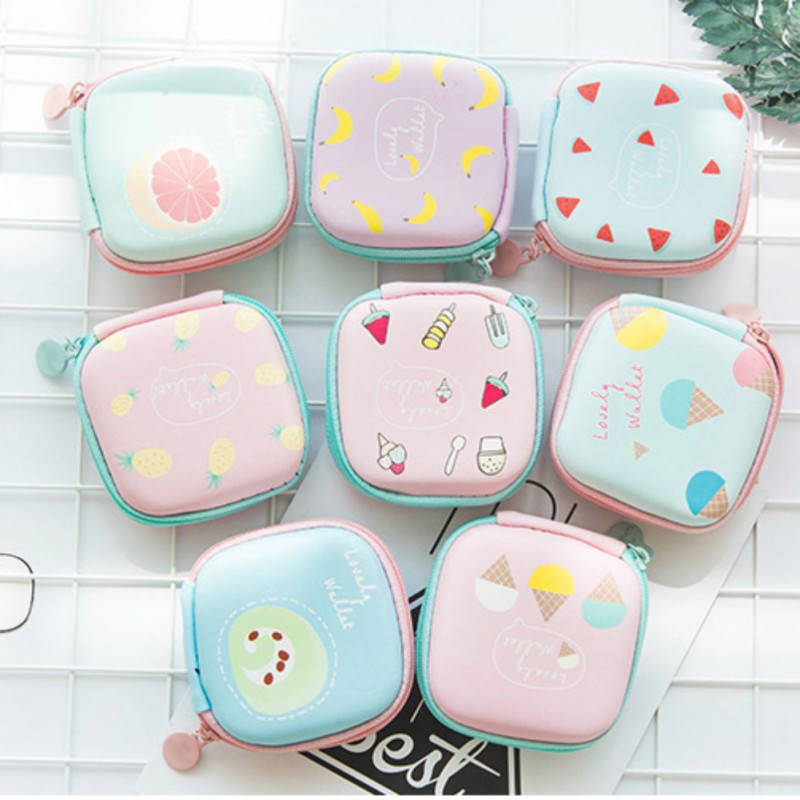 Portable Storage Bag Cute Fruit Print Earphone USB Cable Earbuds Makeup Organizer Outdoor Travel Supplies