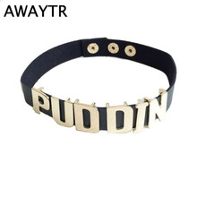 AWAYTR Harley Quinn PUDDIN Leather Choker Necklace Suicide Necklaces Halloween Cosplay Letter Pattern Necklace for Women Men