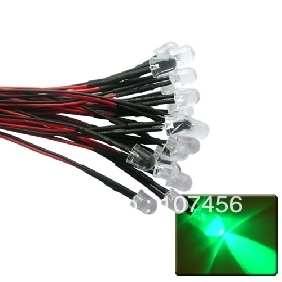 50pcs 10mm Green LED Lamp Light Set 20cm Pre-Wired 12V Free Shipping