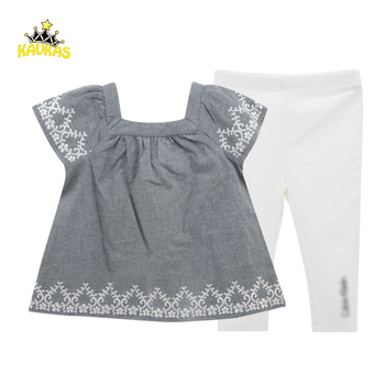 KAVKAS Baby Clothes Set Infant Cute Dress+Pants Kids Summer Outfits Girls Short Sleeve Embroidery Flowers Shirt Toddler Clothing