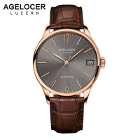 AGELOCER Swiss Luxury Casual Watches for Men Rose Gold Brown Dial Genuine Leather Strap Mechanical Automatic Watches