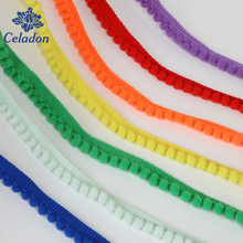 5Yards/Lot Hot Sale 10MM Pom Pom Trim Ball Fringe Ribbon DIY Sewing Accessory Lace 20 Colors For Home Party Decoration