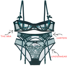 Super thin transparent half cup bra underpants garter belt set sexy lady lace