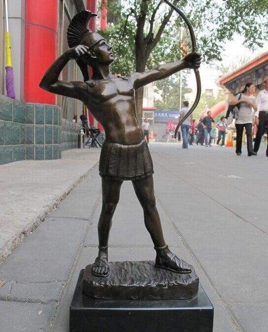 Подпись Бронзовый Мраморный арт Индийский воин лучники Статуя подарок ремесел украшения