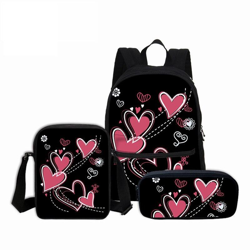 VEEVANV cartables 3 pièces/ensemble amour coeur 3D impression sac à dos filles mignonnes Mochila enfants sacs à dos toile combinaison paquets