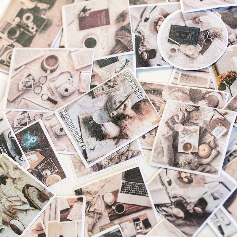 60pcs/pack Vintage Coffee Fresh Green Plant Retro Memory Flower Decorative Sticker DIY Scrapbooking Photo Label Album Escolar